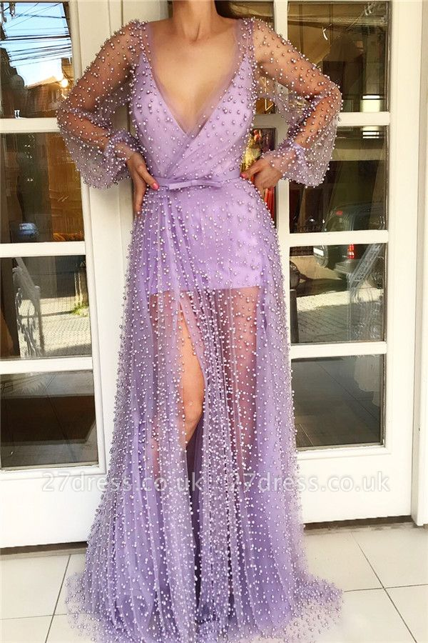 Long Sleeve Prom Dress with Sheer Skirt   Stylish Tulle Pink Long Evening Dress with Pearls