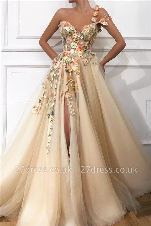 Cheap One Shoulder Straps Tulle Prom Dress |  Sweetheart Sexy Slit Appliques Flowers Evening Dress UK