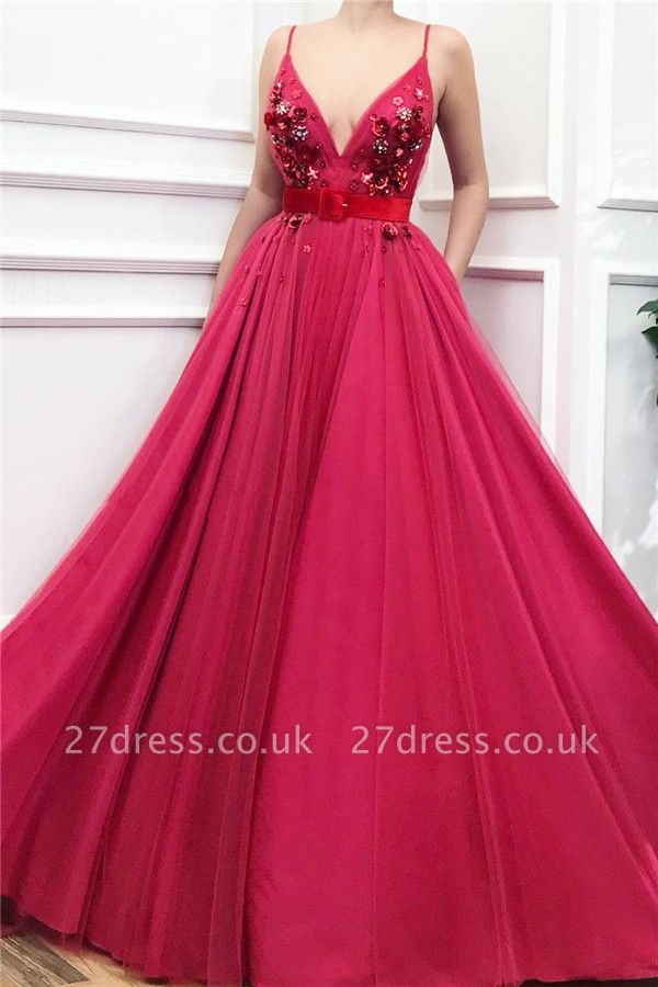 Spaghetti Straps V-Neck Burgundy Evening Dress UK | Tulle Flower Beaded Cheap Prom Dress with Sash