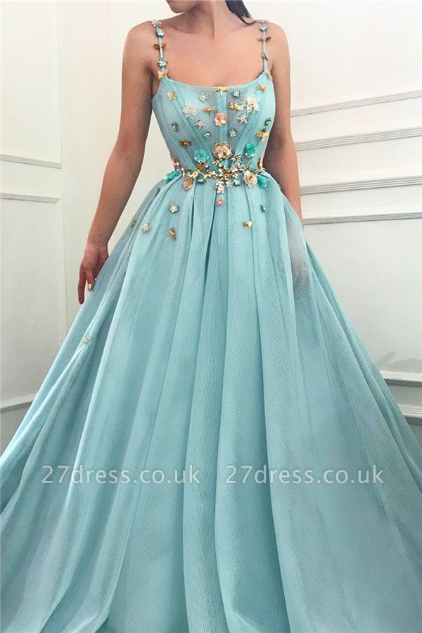 Spaghetti Straps Sleeveless Sexy Prom Dress   A Line Beaded Flowers  Evening Dress UK
