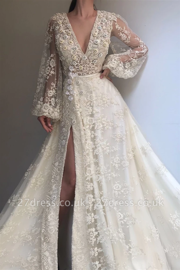 Sexy Tulle Lace Beaded Long Sleeve Prom Dress |  V-Neck Beaded Slit Evening Dress UK