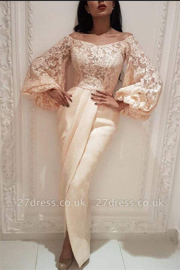 Elegant Lace Off the Shoulder Long Evening Dress UK |  Long Sleeve Sexy Slit Mermaid Prom Dress
