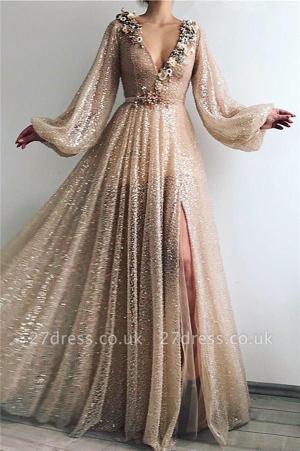 Sparkling Sequins Long Sleeve Prom Dress |  Sexy Slit Long Cheap Evening Dress UK