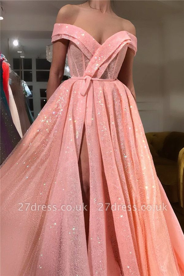 Sparkly Sequins Off The Shoulder Prom Dress |  Sleeveless Sexy Slit Long Evening Gowns UK