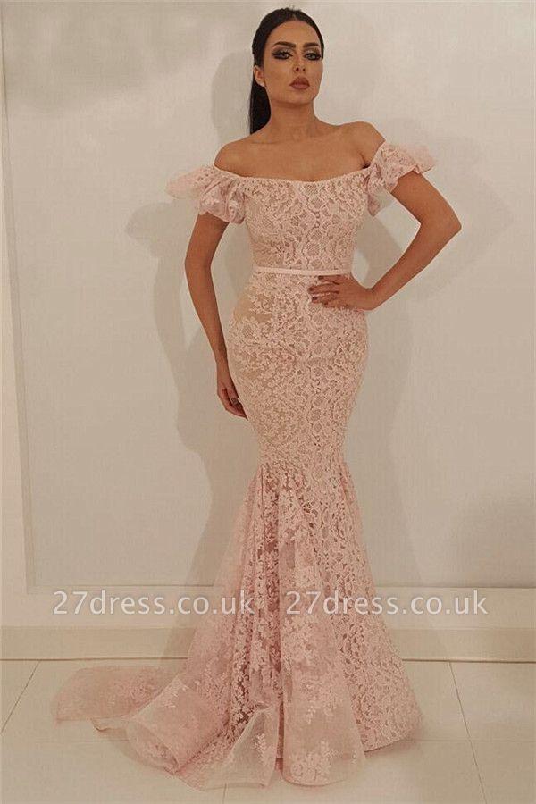 Stylish Off the Shoulder Lace Prom Dress | Cheap Mermaid Sleeveless Long  Evening Dress UK