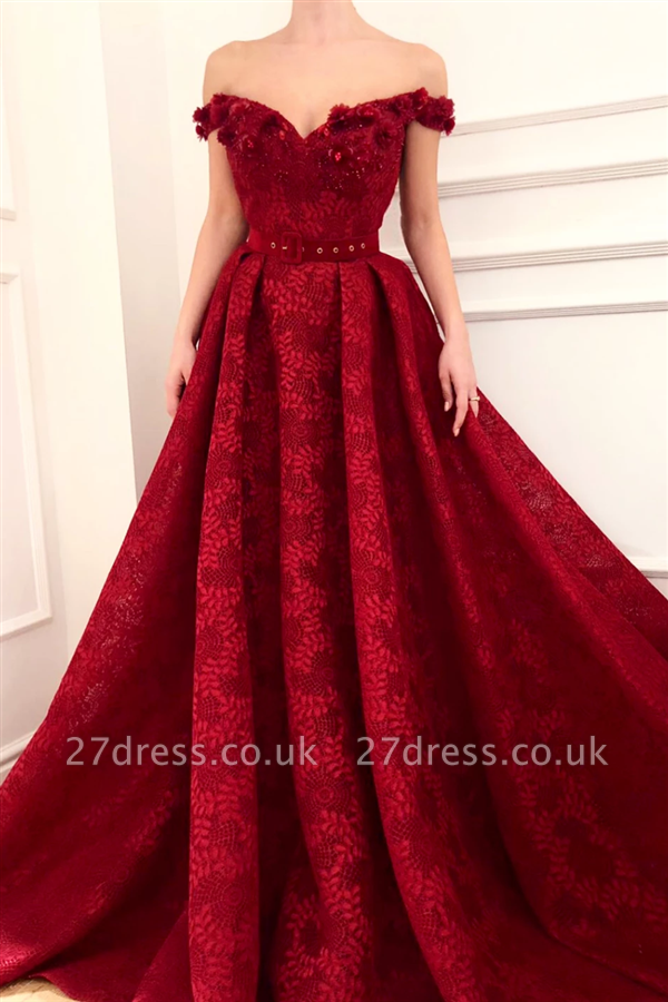 Off The Shoulder Ruby Lace Sexy Evening Dress |  Beaded Appliques Flowers Prom Dresses UK