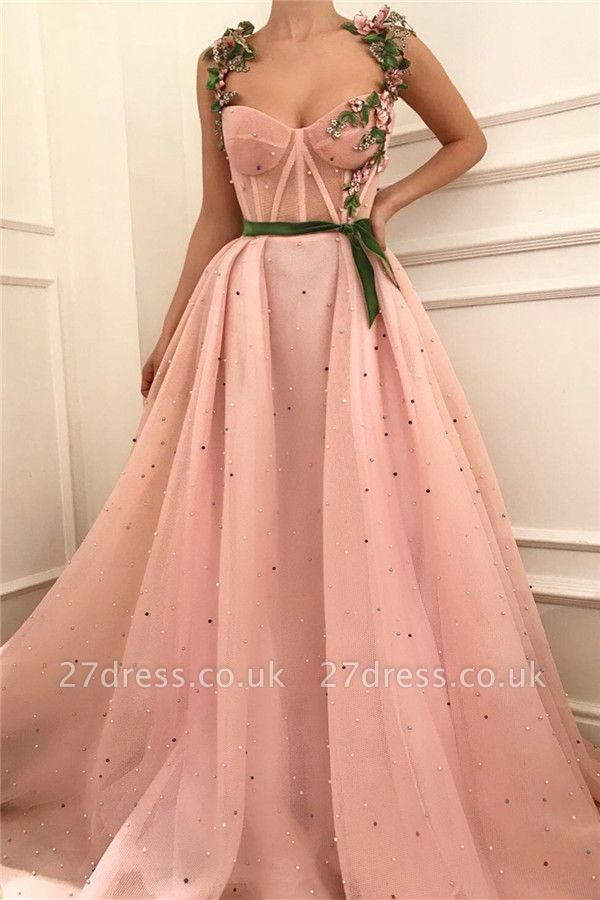 Sexy Pink Tulle Burgundy Sash Prom Dress with Pearls |  Sheer Bodice Sweetheart Evening Dress UK