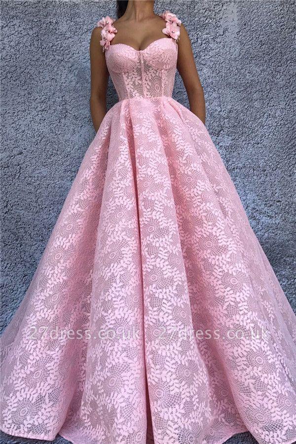 Sexy Lace Sweetheart Pink Prom Dress | Stylish Flower Straps Sleeveless Long Evening Dress UK