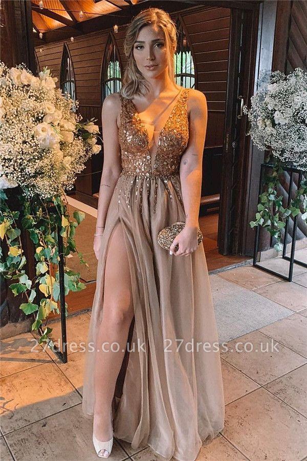 Sexy Slit Deep V-Neck Prom Dress Online   Sleeveless Beaded Ruffless Long Evening Dresses