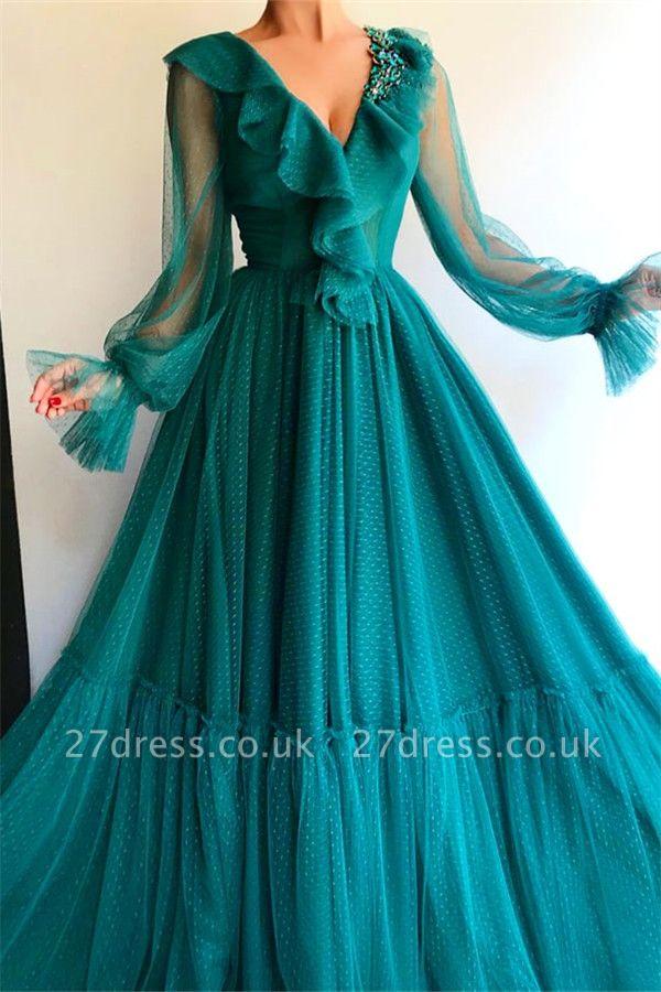 Stylish Long Sleeve Evening Dress UK | Affordable Beaded Green Long Prom Dress