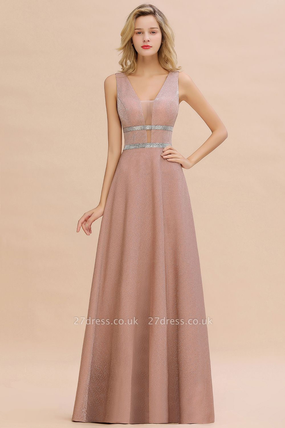 Sparkly Long Evening Dress with Shining Belt | Sexy Sleeveless Pink Formal Dress Cheap