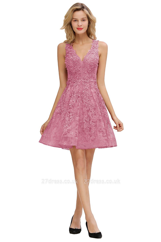 Knee Length Lace Appliques Homecoming Dresses | Burgundy Short Evening Dresses UK