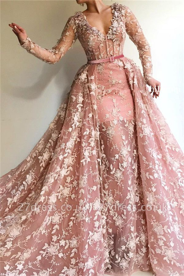 Sheer Tulle Pink Long Sleeve Prom Dress Cheap Online| Sexy Mermaid Appliques Evening Dress UK