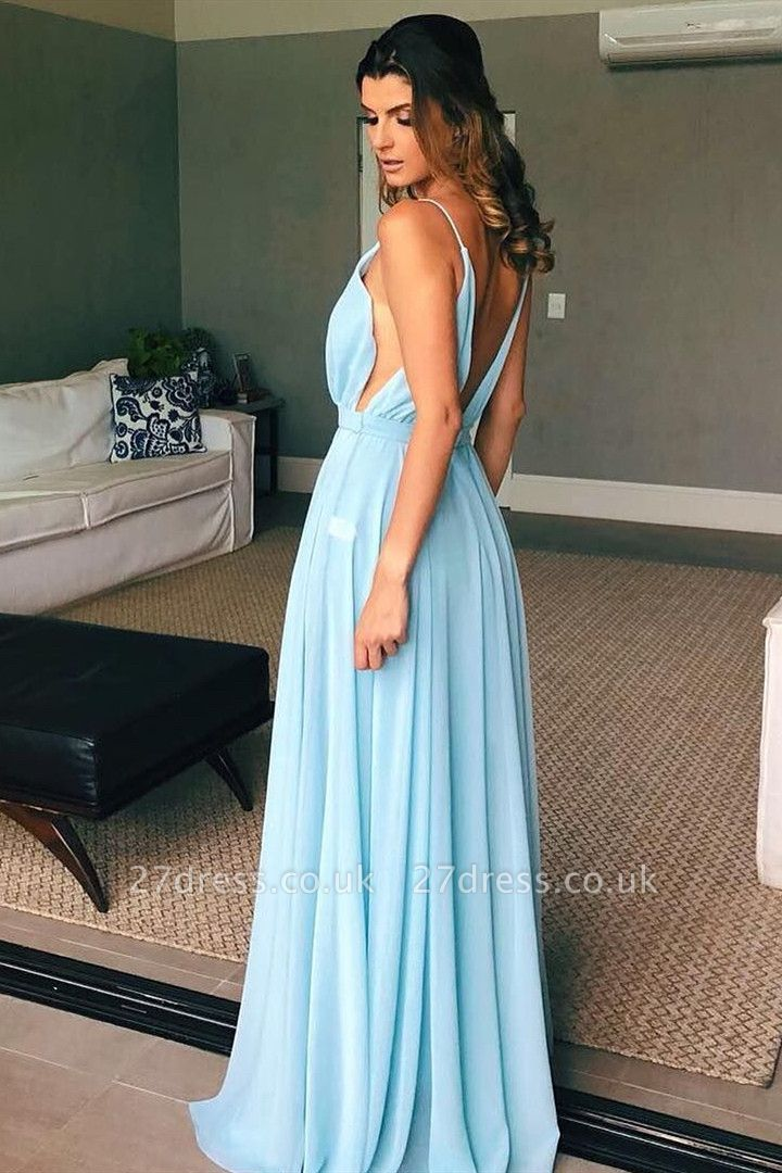 Deep V-Neck Open Back Sexy Evening Dress| Cheap Chiffon Spaghetti Straps Long Prom Gown UK