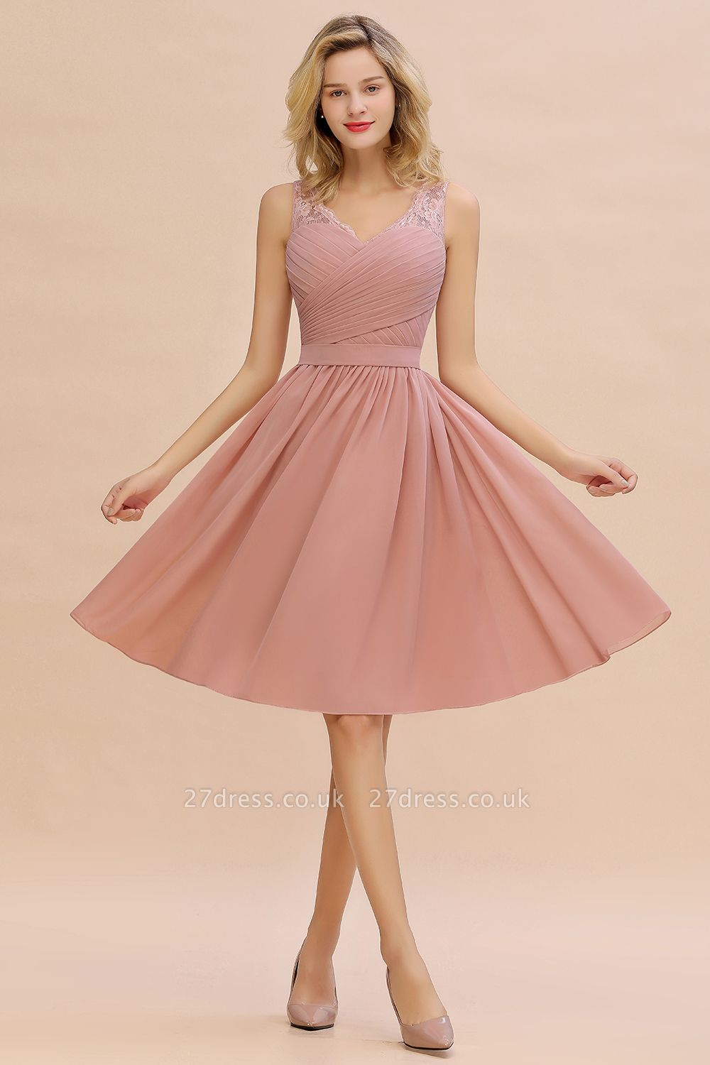 Lace Short Homecoming Dresses with Belt |  Sleeveless  Pink Cheap Party Dress UK
