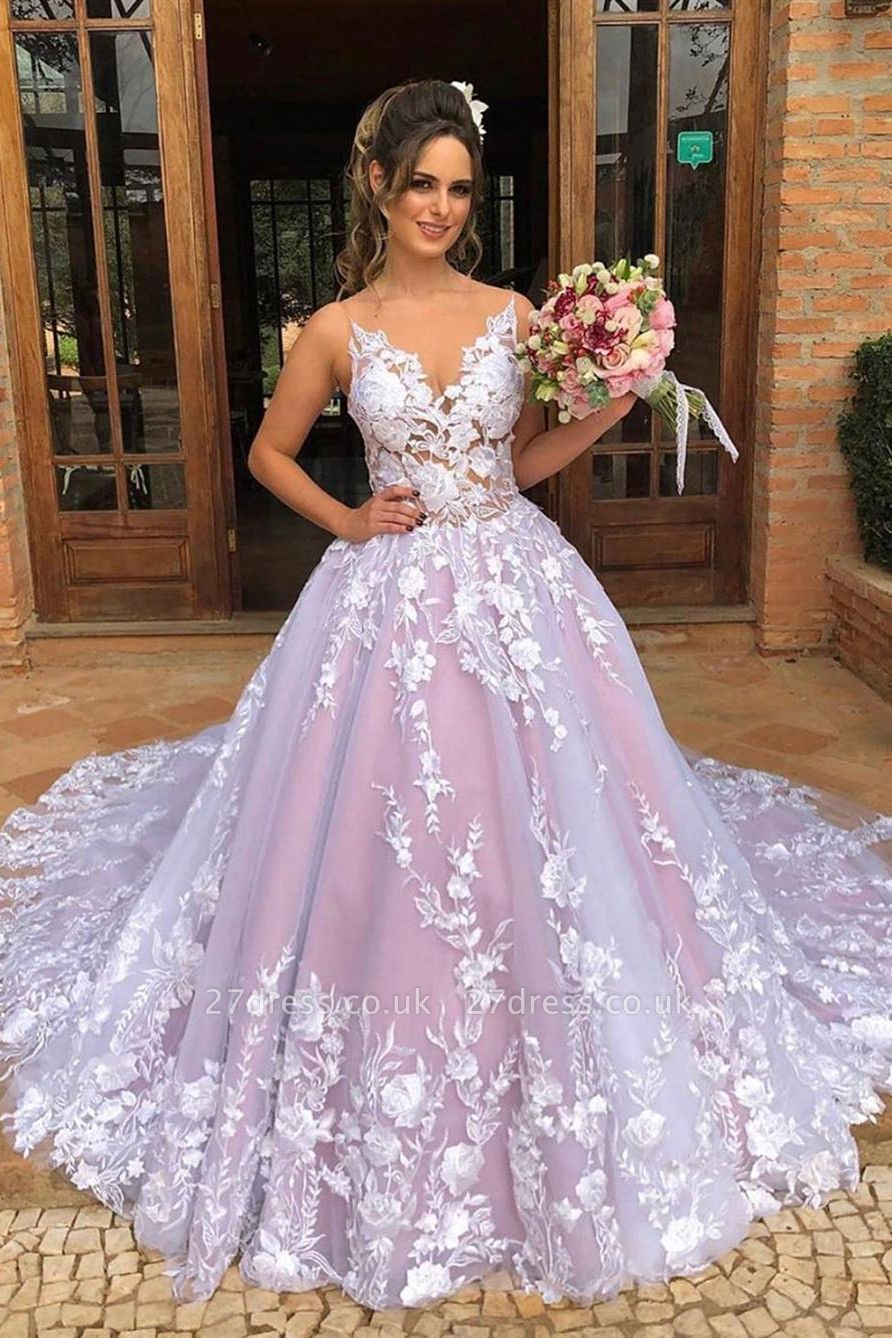 Spaghetti Straps Sexy Evening Dress UK| New Pink Tulle Lace Appliques Long Prom Dresses