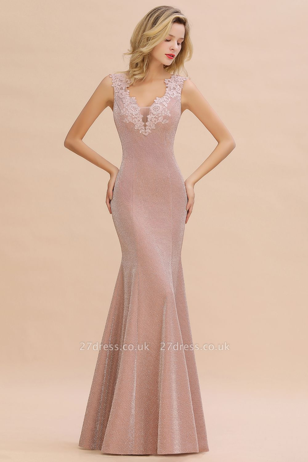 Sparkly V-neck Sexy Evening Dress UK | Flowers Sleeveless Pink Floor Length Formal Dresses