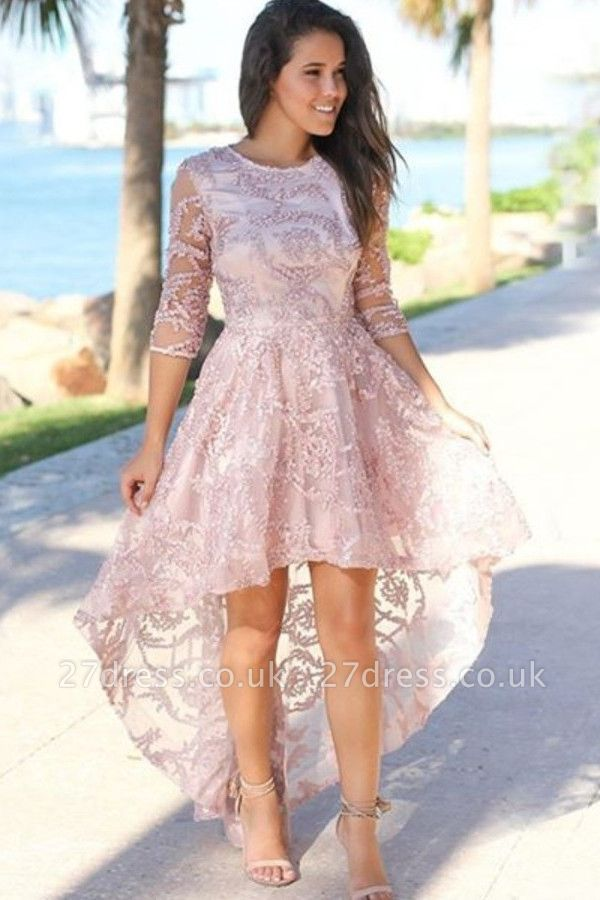Lace Sleeves Hi-lo Cheap Evening Dresses UK | Sexy Beaded Pink Formal Dresses Online