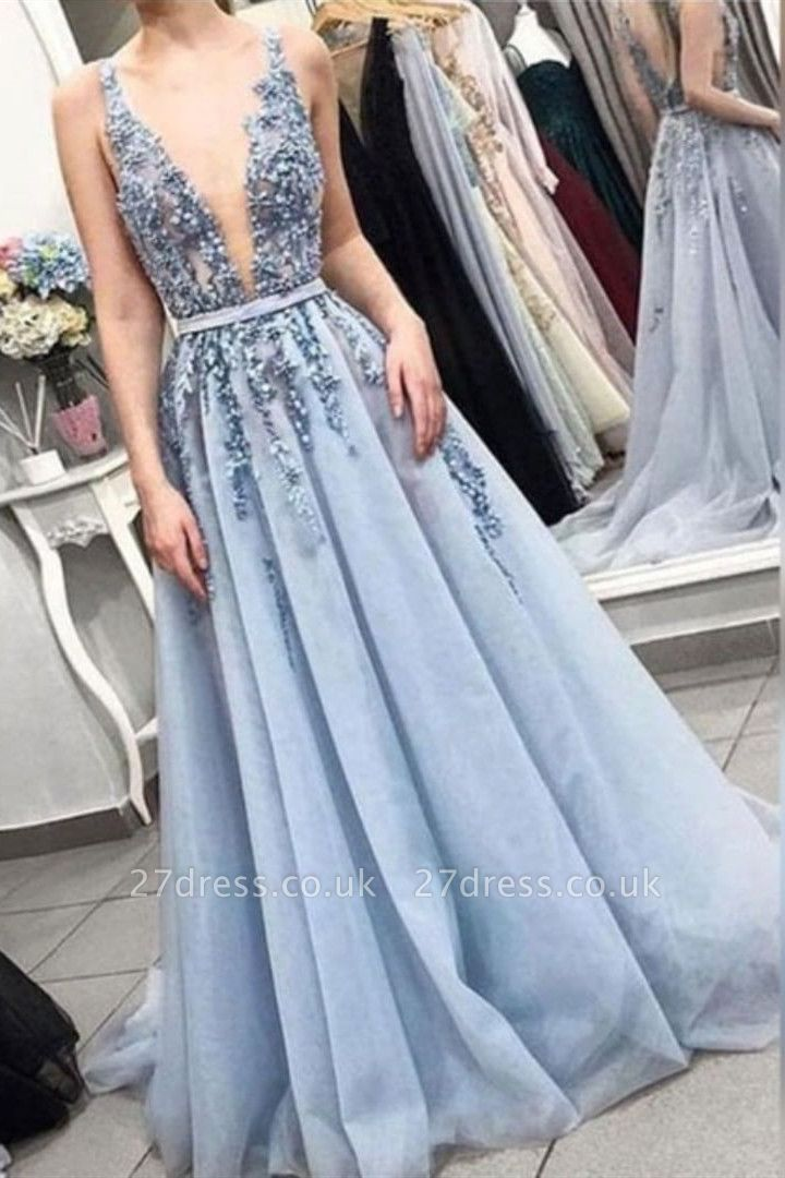 Straps Deep V-Neck Long Evening Dress UK | Sexy Lace Beaded Blue Prom Dresses Cheap