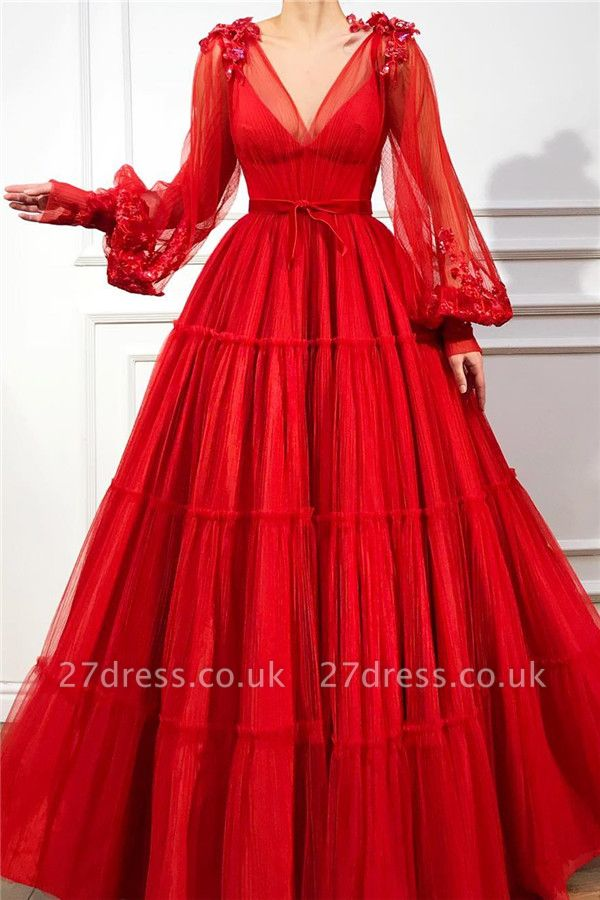Cheap V-Neck Long Sleeve Red Evening Dress UK| Sexy Ball Gown Appliques Beaded Long Prom Dress