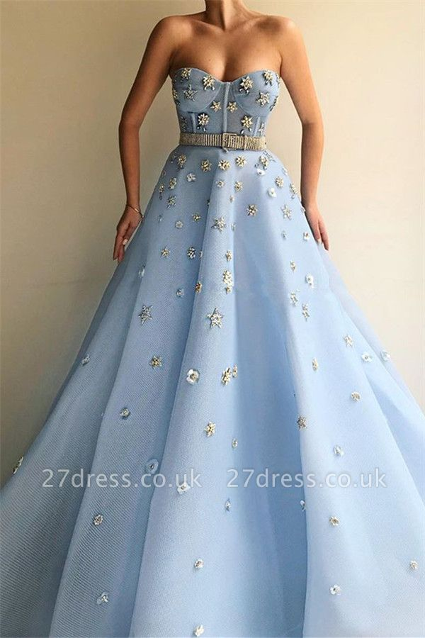 Sexy Strapless Beaded Flowers Prom Dress | Blue Tulle Long  Evening Dress UK with Beadning Sash
