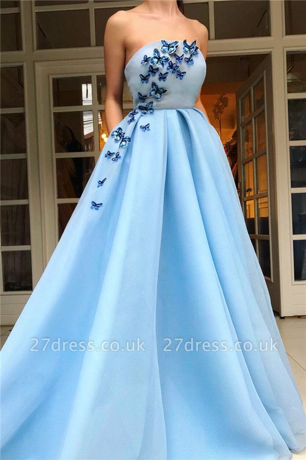 Affordable Strapless Sleeveless Blue Tulle Prom Dress | Stylish Ruffless Long Prom Dress with Butterfly