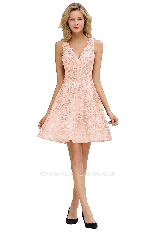 Knee Length Lace Appliques Homecoming Dresses   Burgundy Short Evening Dresses UK