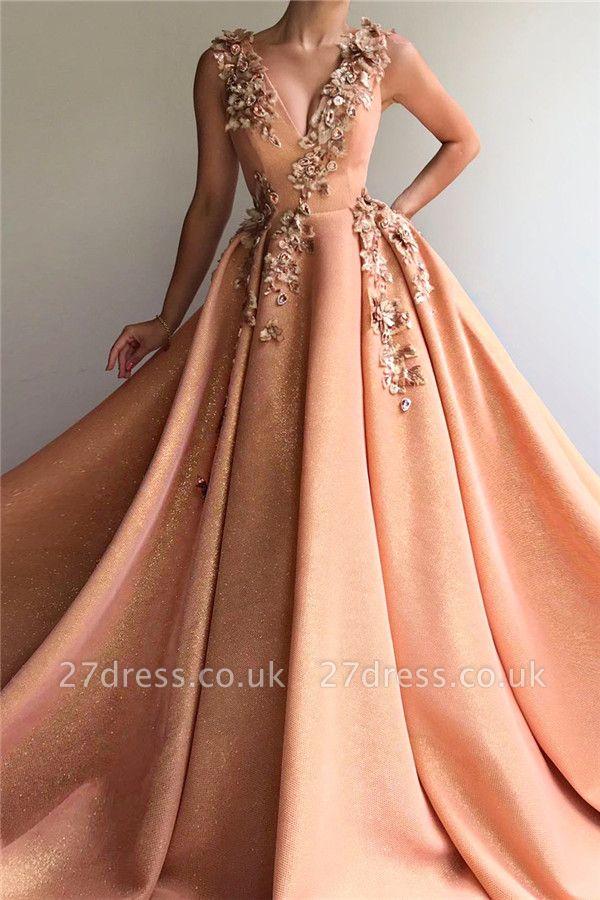 Sparkly Sequins V-Neck Sleeveless Prom Dress | Stylish Appliques Long Affordable Evening Dress UK