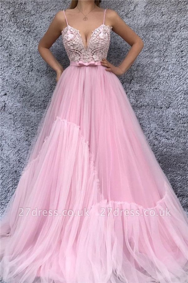 Spaghetti Straps V-Neck Pink Evening Dress UK | Sexy Lace Bodice  Long Prom Dress with Sash