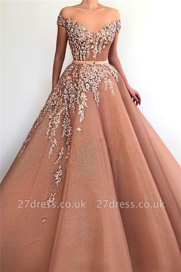 Sexy Off the Shoulder Sweetheart Evening Dress UK | Ball Gown Applqiues Sleeveless Affordable Prom Dress