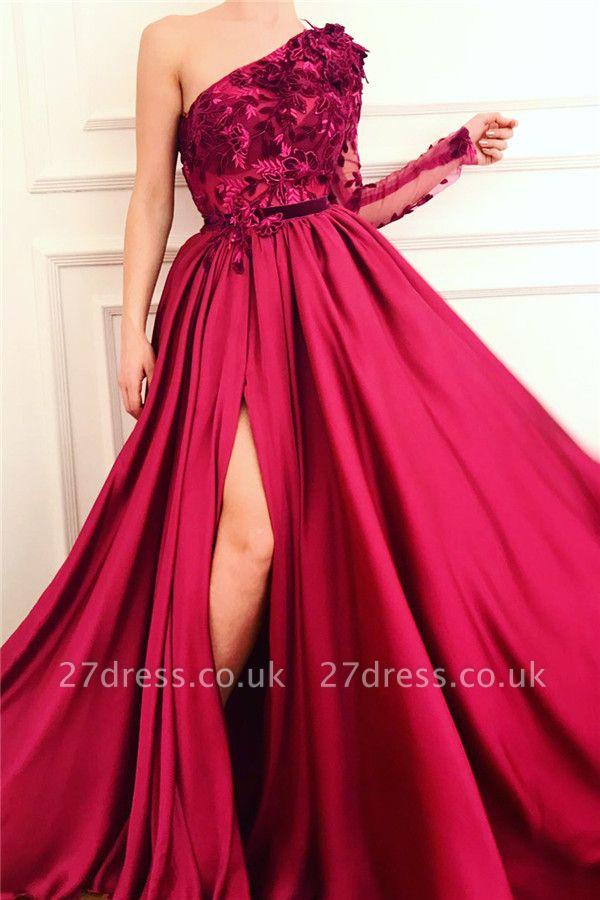 One Shoulder Sexy Slit Burgundy Prom Dress   Affordable One Sleeve Appliques Evening Dress UK