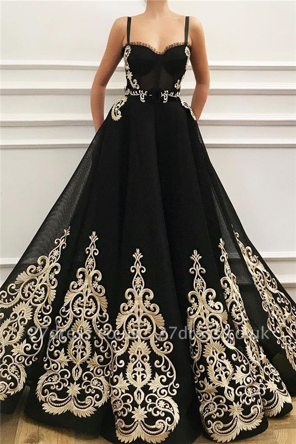 Straps Sweetheart Black Tulle Prom Dress Cheap Online | Sexy Sleeveless Champagne Evening Dress UK