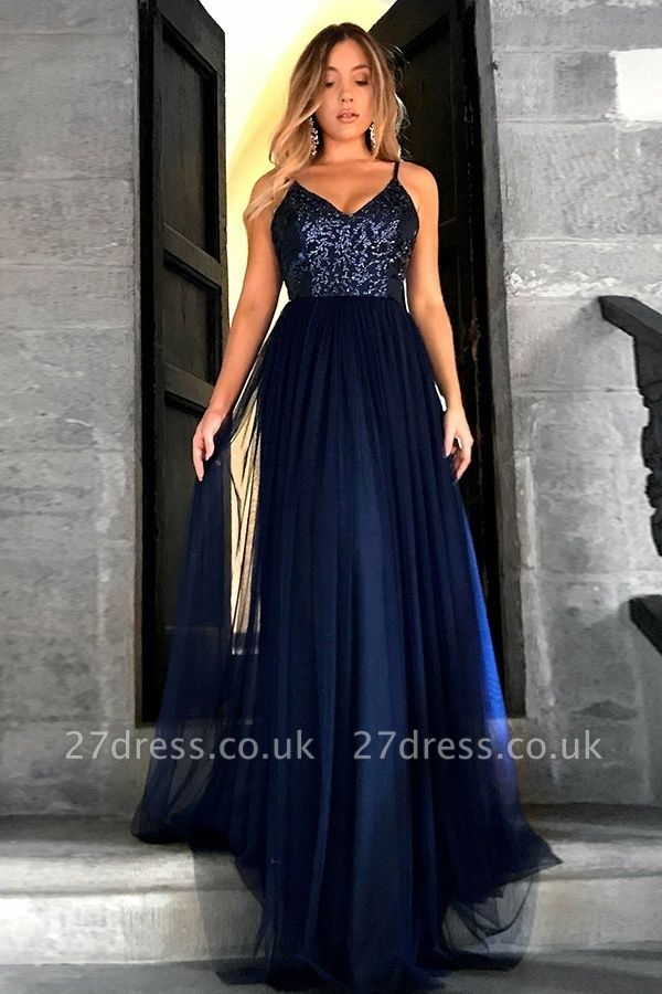 Cheap Sequins Cheap Evening Dress UK | V-neck Spaghetti Straps Tulle Navy Prom Dresses