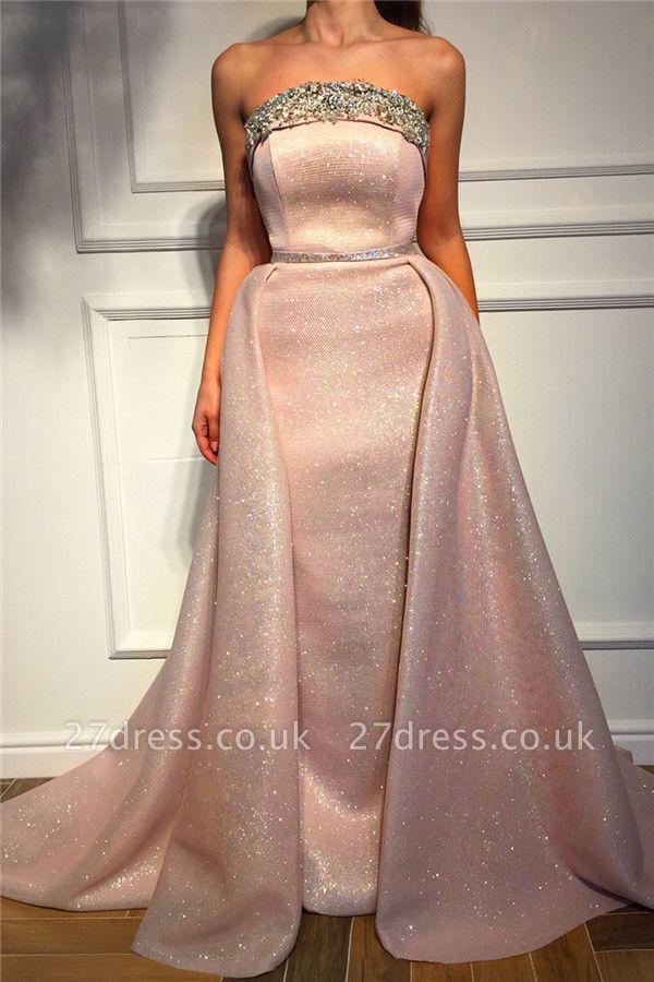 Sparkling Sequins Strapless PinkEvening Dress UK | Cheap Sleeveless Beaded Sexy Prom Dress