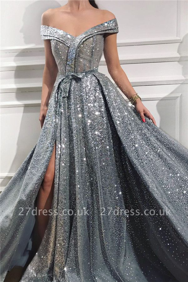Sparkly Sequins Off the Shoulder Sleeveless Prom Dress | Sweetheart Sexy Slit Shinny Long Evening Dress