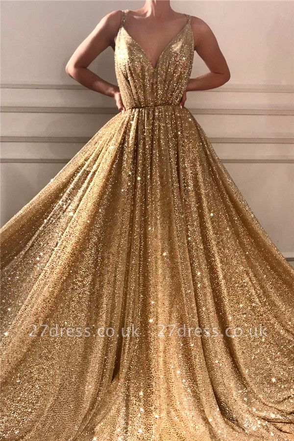 Chic Sequins Spaghetti Straps Cheap Evening Dress   Sparkling V-Neck Sleeveless Gold Prom Dress