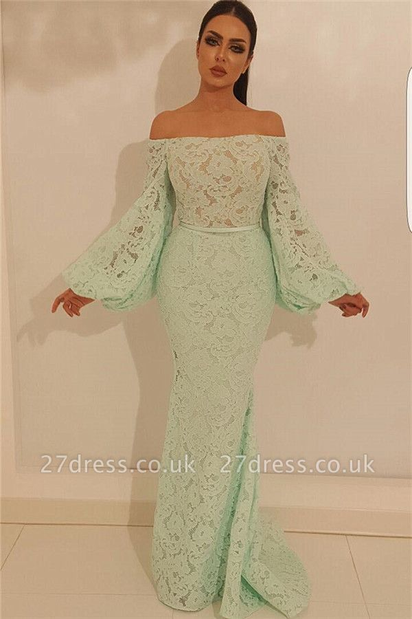 Elegant Mermaid Off the Shoulder Prom Dress | Stylish Lace Long Sleeve Evening Gowns