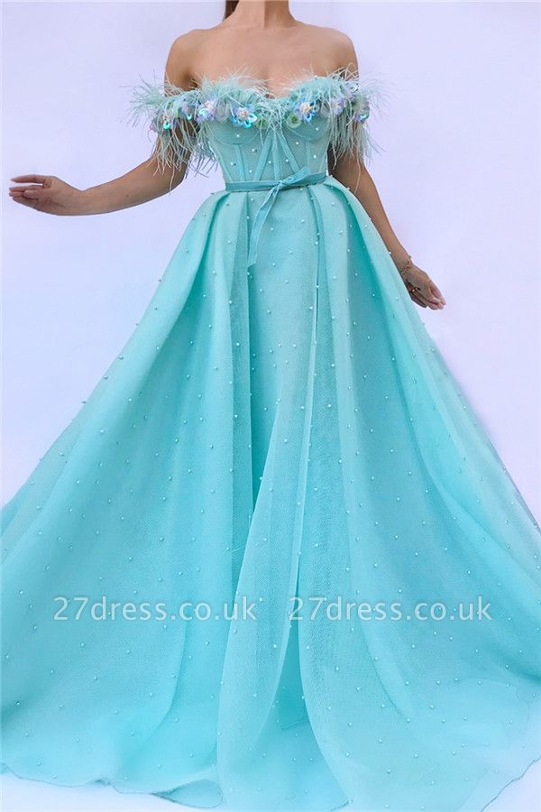 Off the Shoulder Sleeveless Evening Dress UK | Cute Feather Tulle Long Prom Dress with Pearls