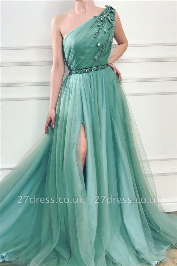Chic One Shoulder Green Tulle Prom Dress with Beads |  Sexy Slit Long Prom Dress with Sash