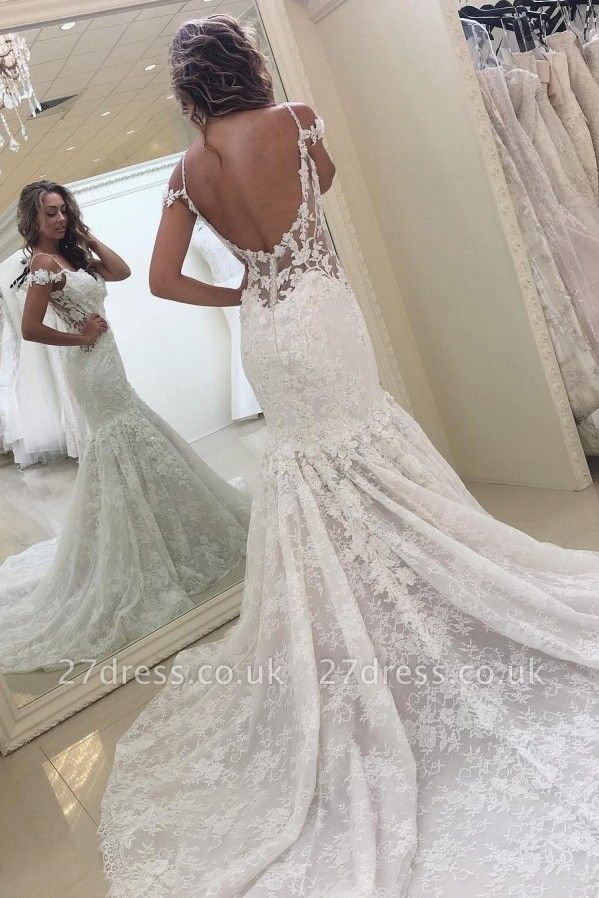 White Mermaid Off-the-shoulder Lace Modern Wedding Dress