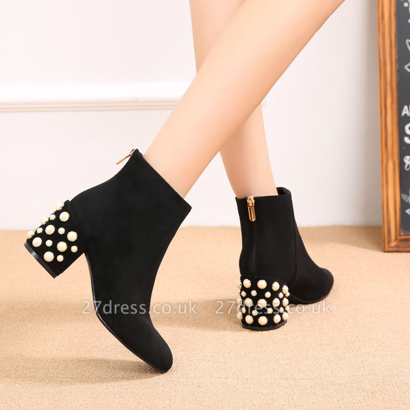 Suede Winter Chunky Heel Beading Pointed Boots
