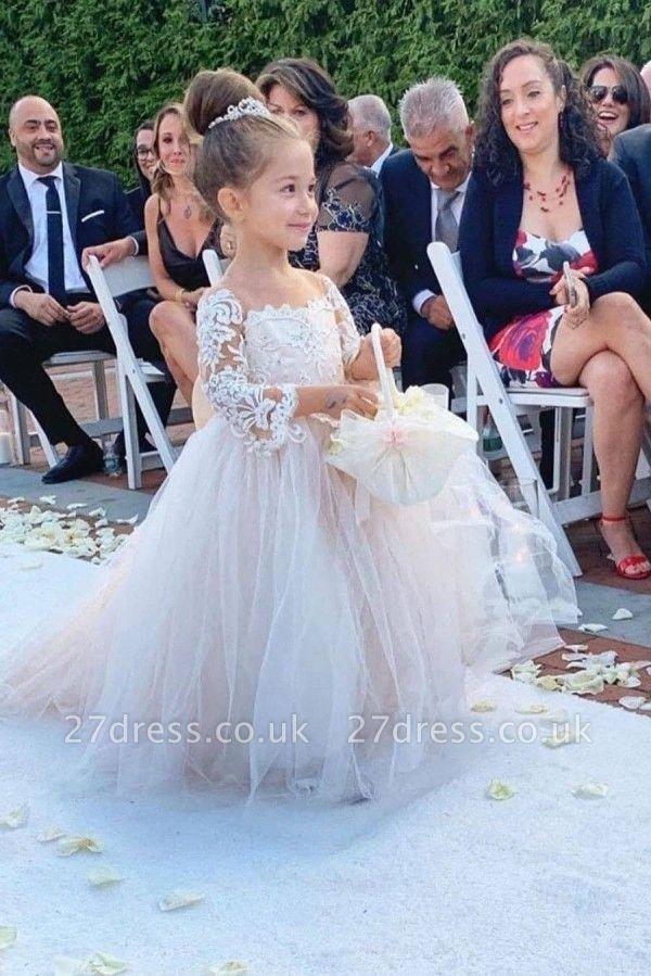 Romantic Princess Flower Girl Dress Long Sleeve Lace Gown