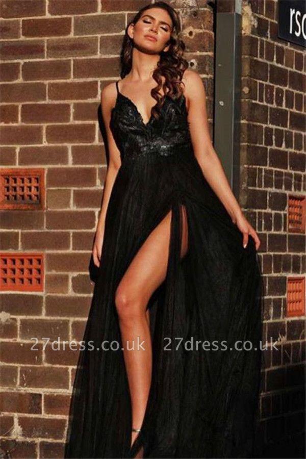 V-neck Spaghetti Straps Slit Black Tulle A-line Evening Gowns
