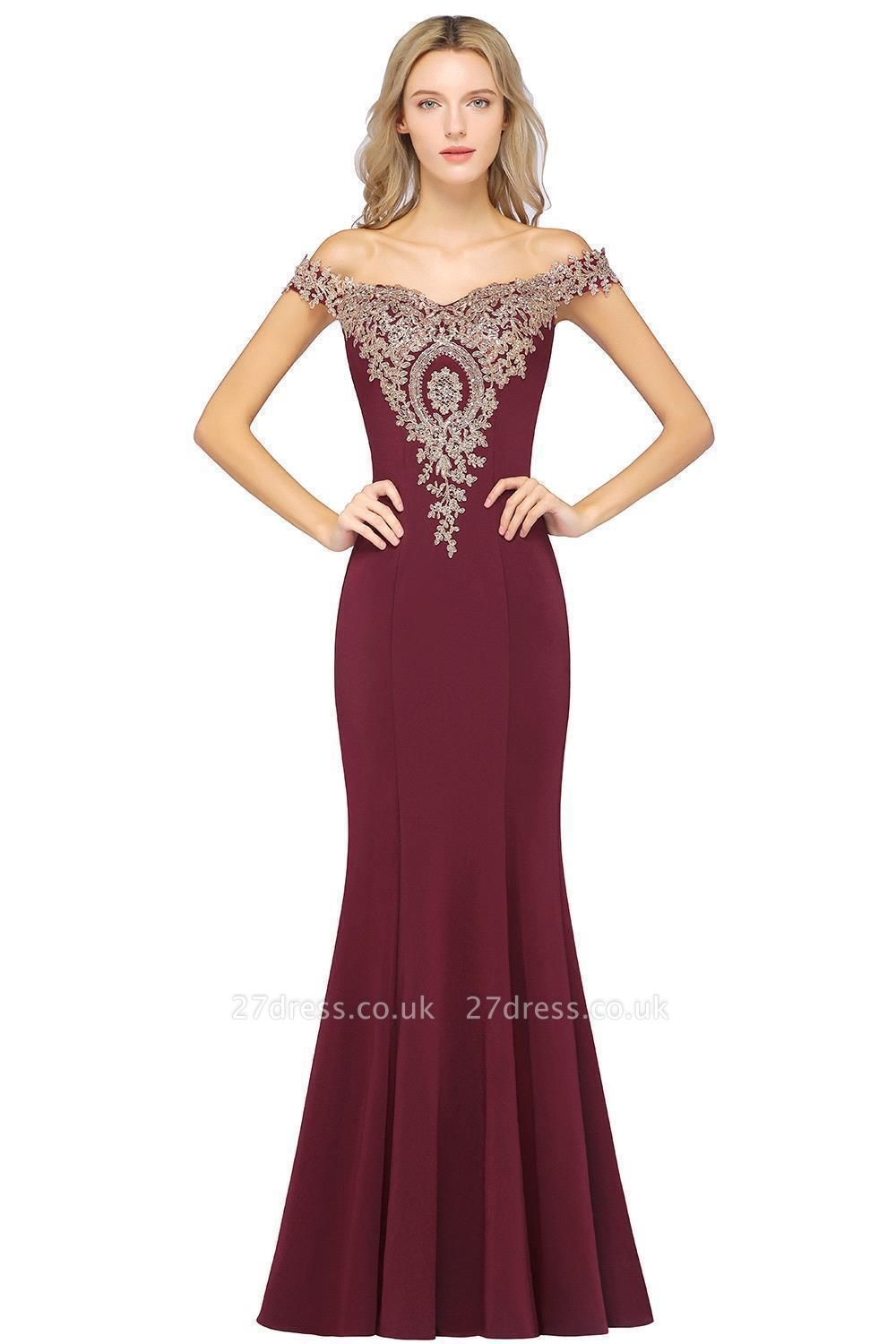 Simple Off-the-shoulder Burgundy Formal Dress with Lace Appliques