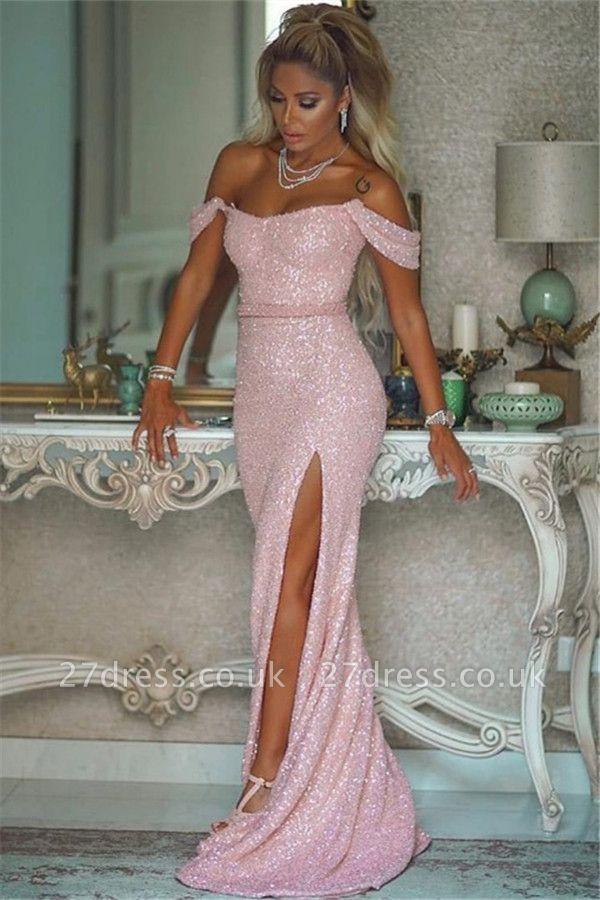 Pink Sequins Off-the-shoulder Front Slit Sheath Evening Dresses