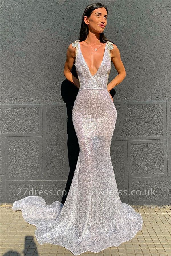 Shinning Silver V-neck Sleeveless Sweep Train Sequins Mermaid Gowns