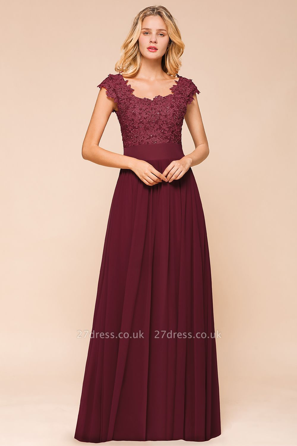 Sleeveless Lace Appliques Chiffon A-line Prom Gowns