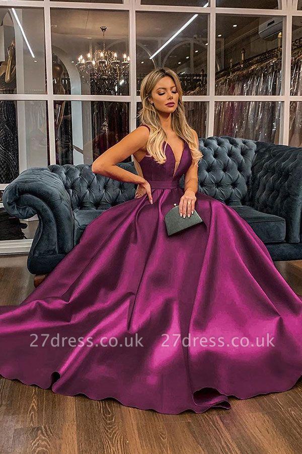 Spaghetti Straps V-neck A-line Satin Prom Dresses UK