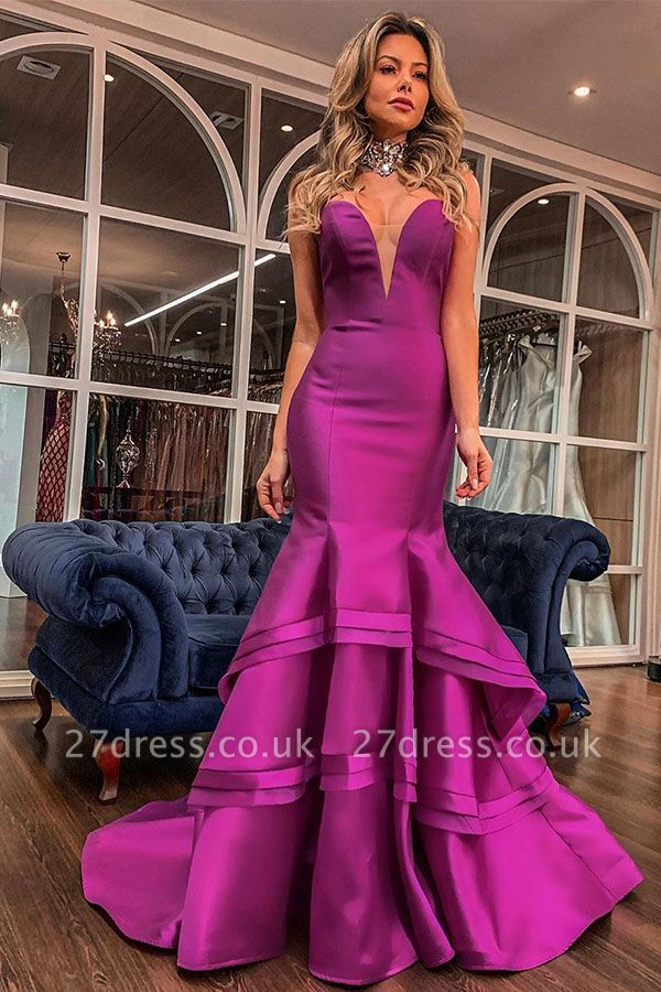 Sweetheart Layered Mermaid Floor Length Formal Occasion Dresses