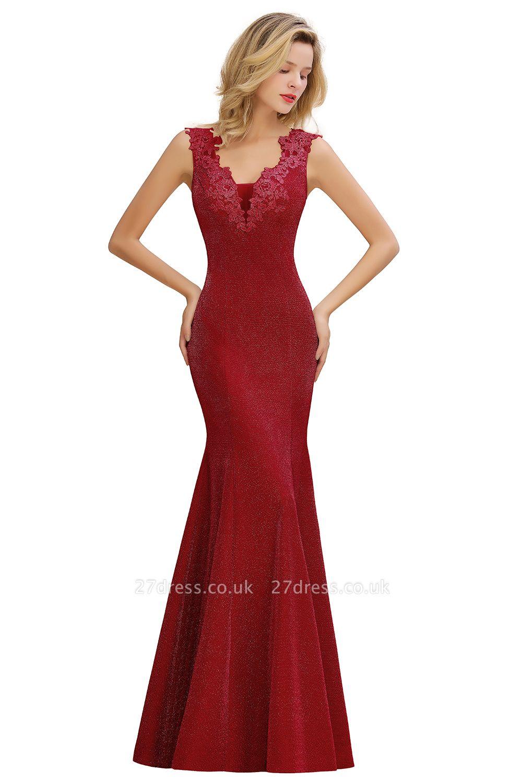 Sparkly V-neck Sexy Evening Dress UK   Flowers Sleeveless Pink Floor Length Formal Dresses
